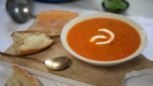 Roast tomato tuna white bean soup