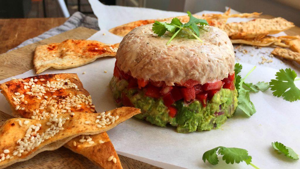 Tuna guacamole stacks