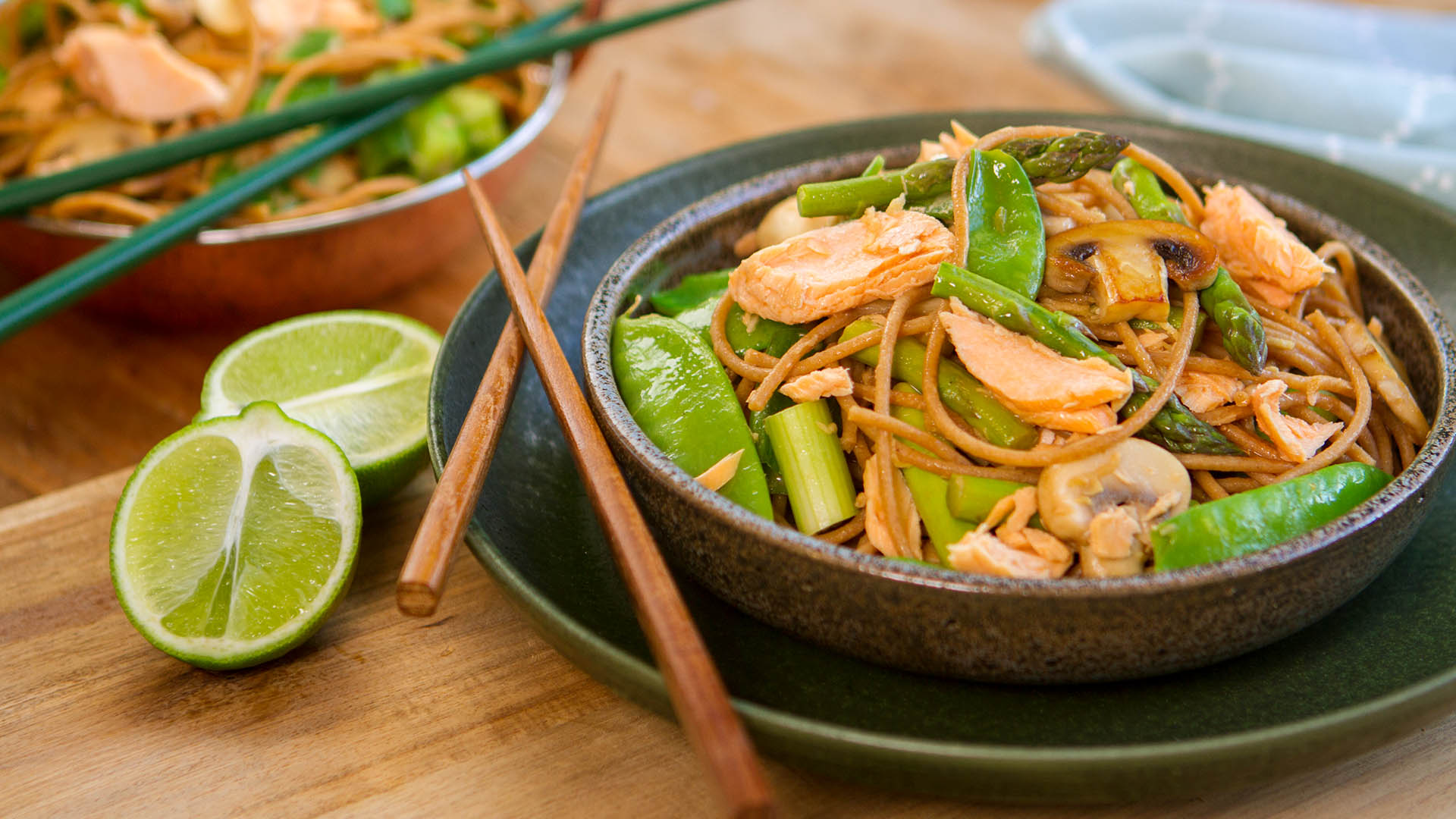 Salmon lime miso ginger stir fry