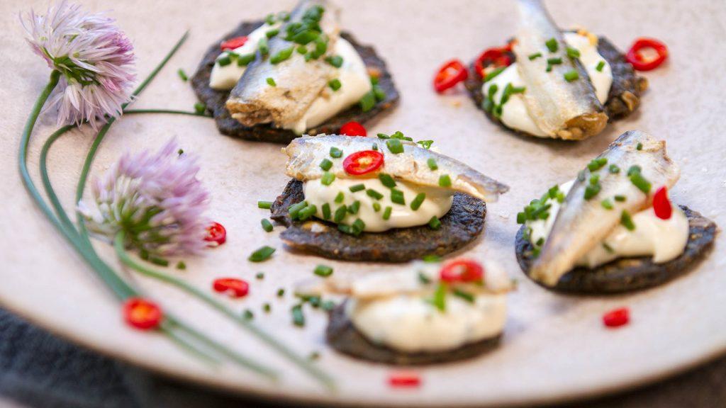 Sardine chive chilli canapés