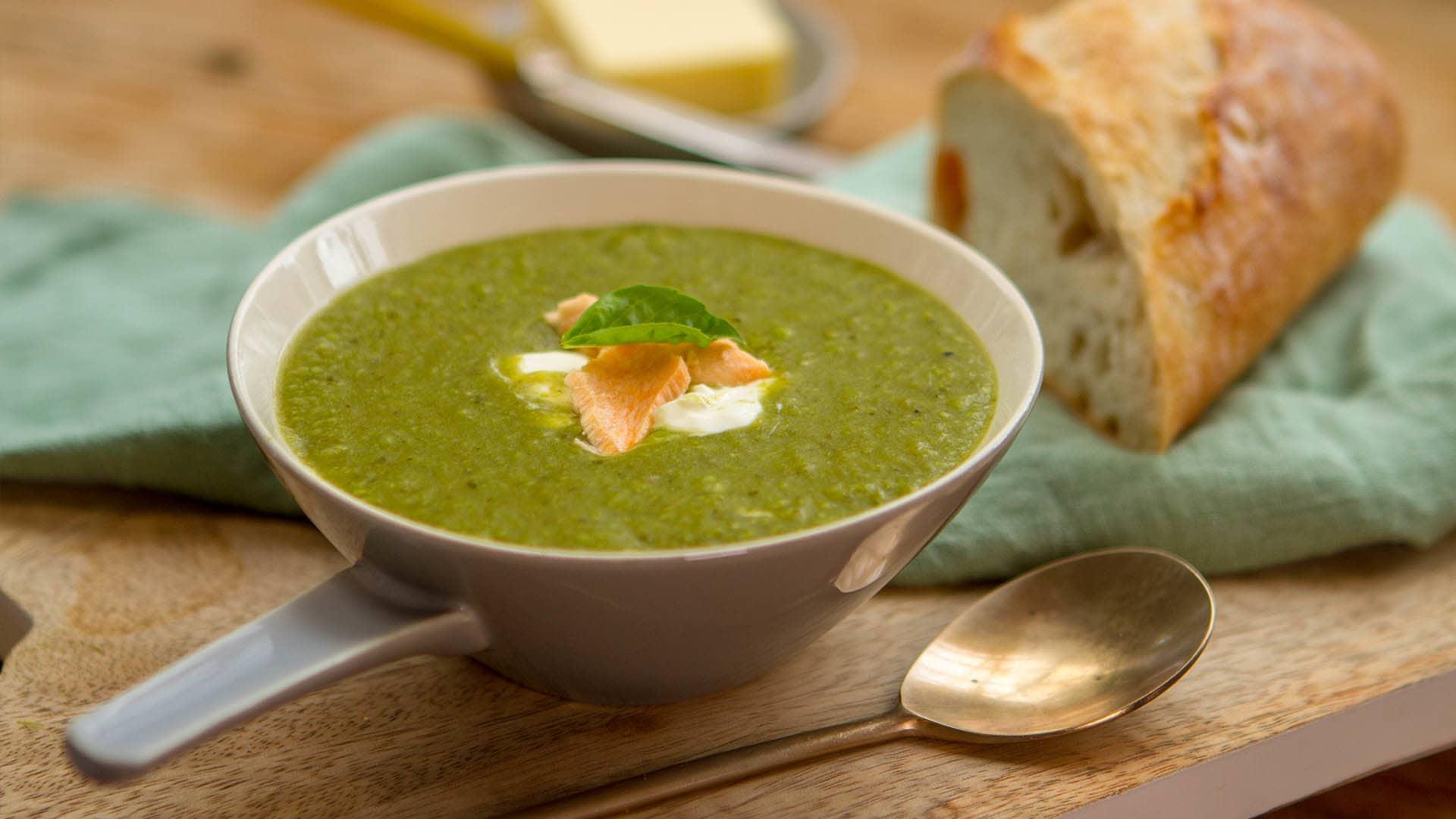 Pea Salmon pesto soup