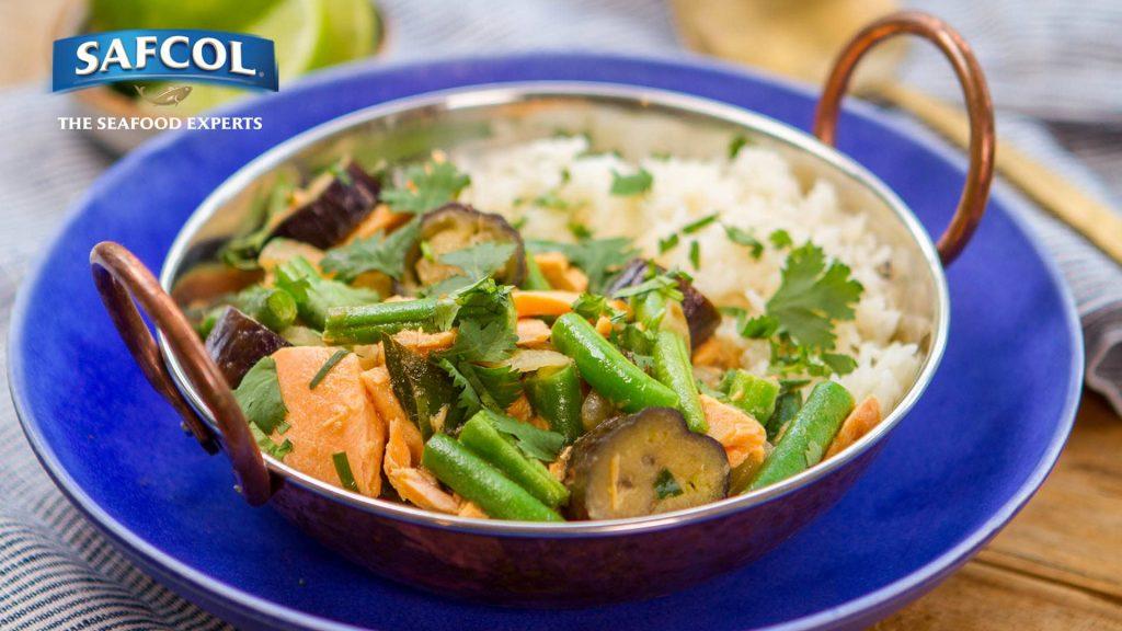 Salmon bean eggplant green curry