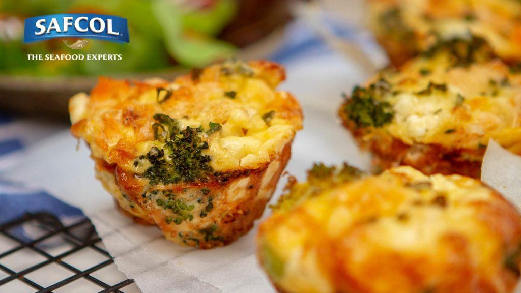 Broccoli salmon feta frittatas
