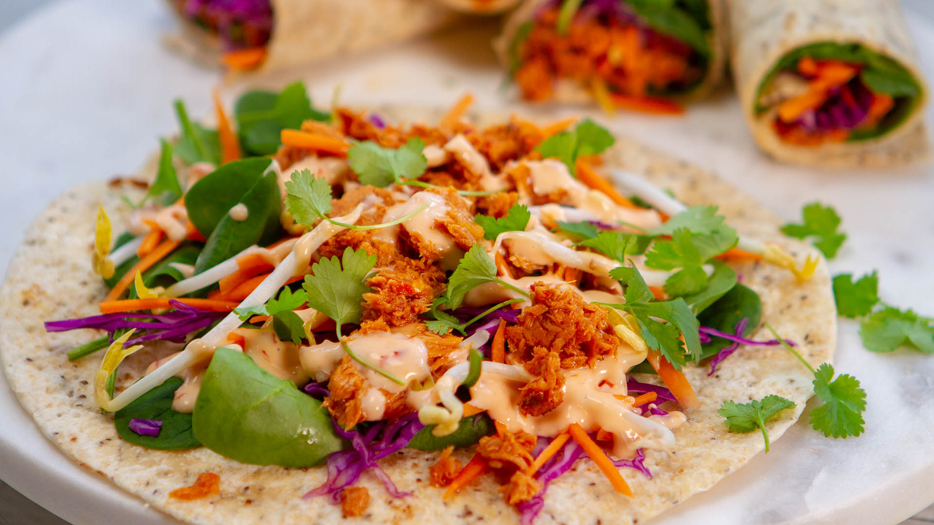 Thai sweet chilli tuna red cabbage wrap