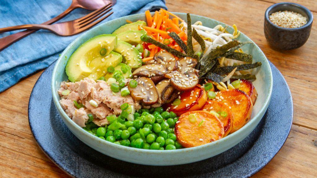 Tuna sweet potato avocado poke bowl
