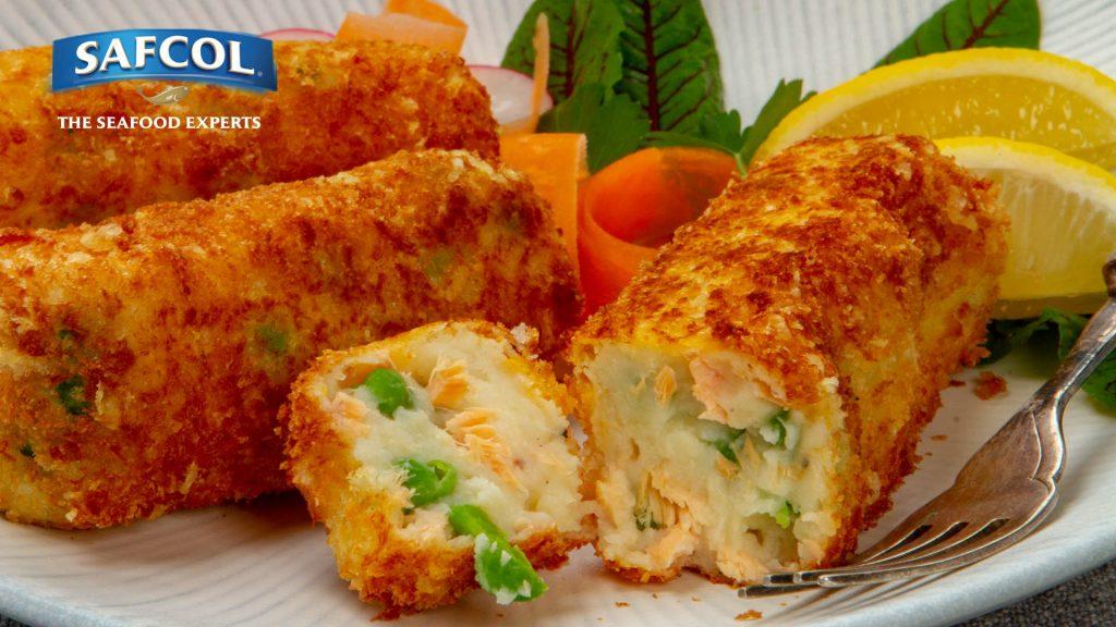 salmon potato pea croquettes