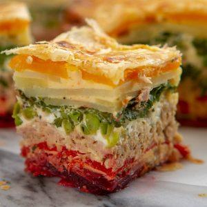 Tuna rainbow picnic pie