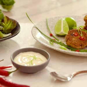 Thai style fish cakes with lime mayo image
