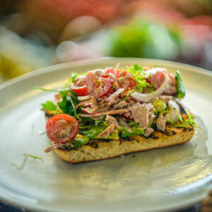 Tuna chop salad on Turkish bread